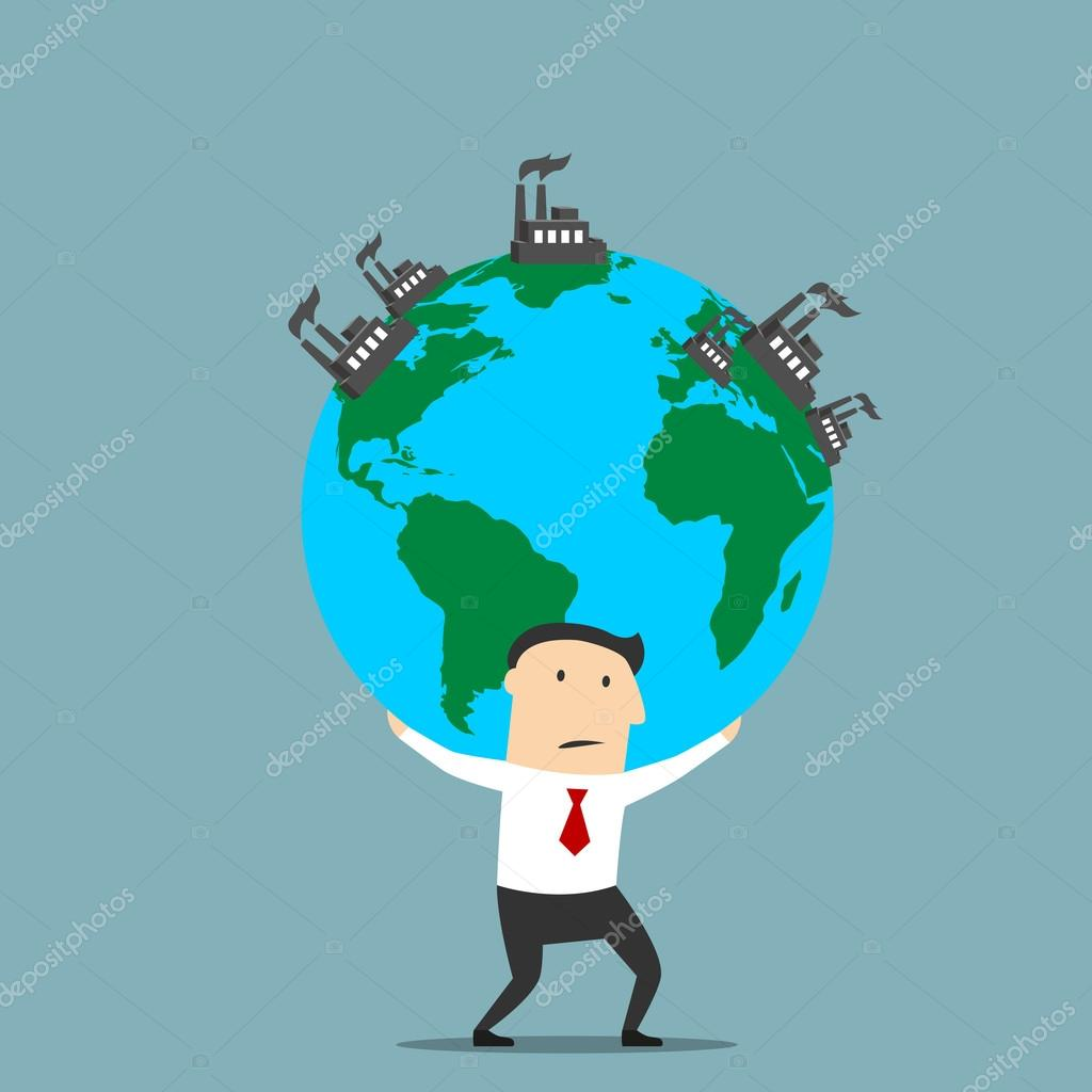 businessman carrying earth with industrial plants stock vector