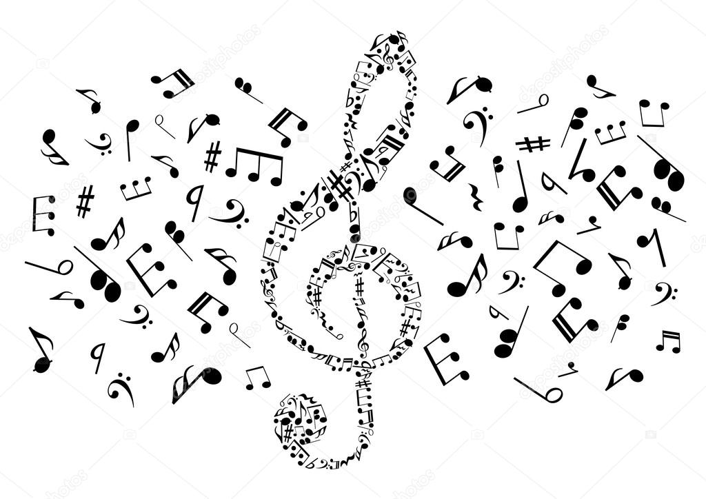Musical Notes And Symbols In Shape Of Treble Clef Stock Vector
