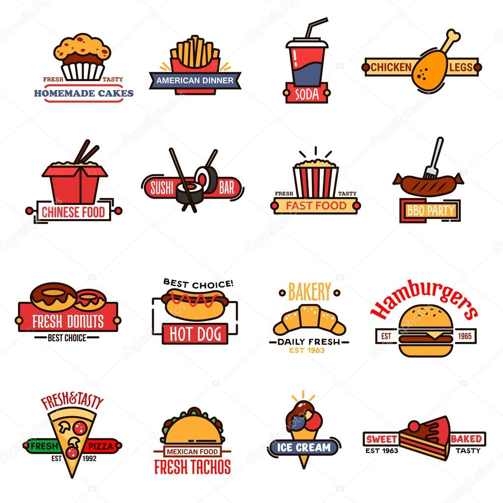 Fast Food Bakery And Sushi Bar Thin Line Icons