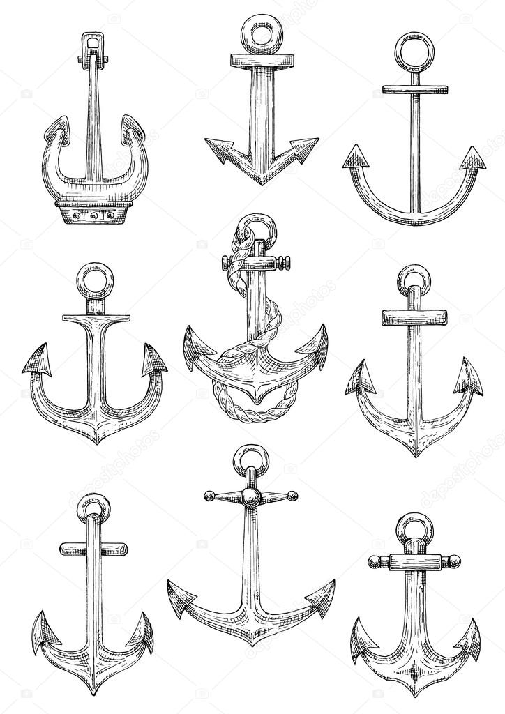 8bd13df5d Nautical anchors with rope for marine theme design — Stock Vector ...