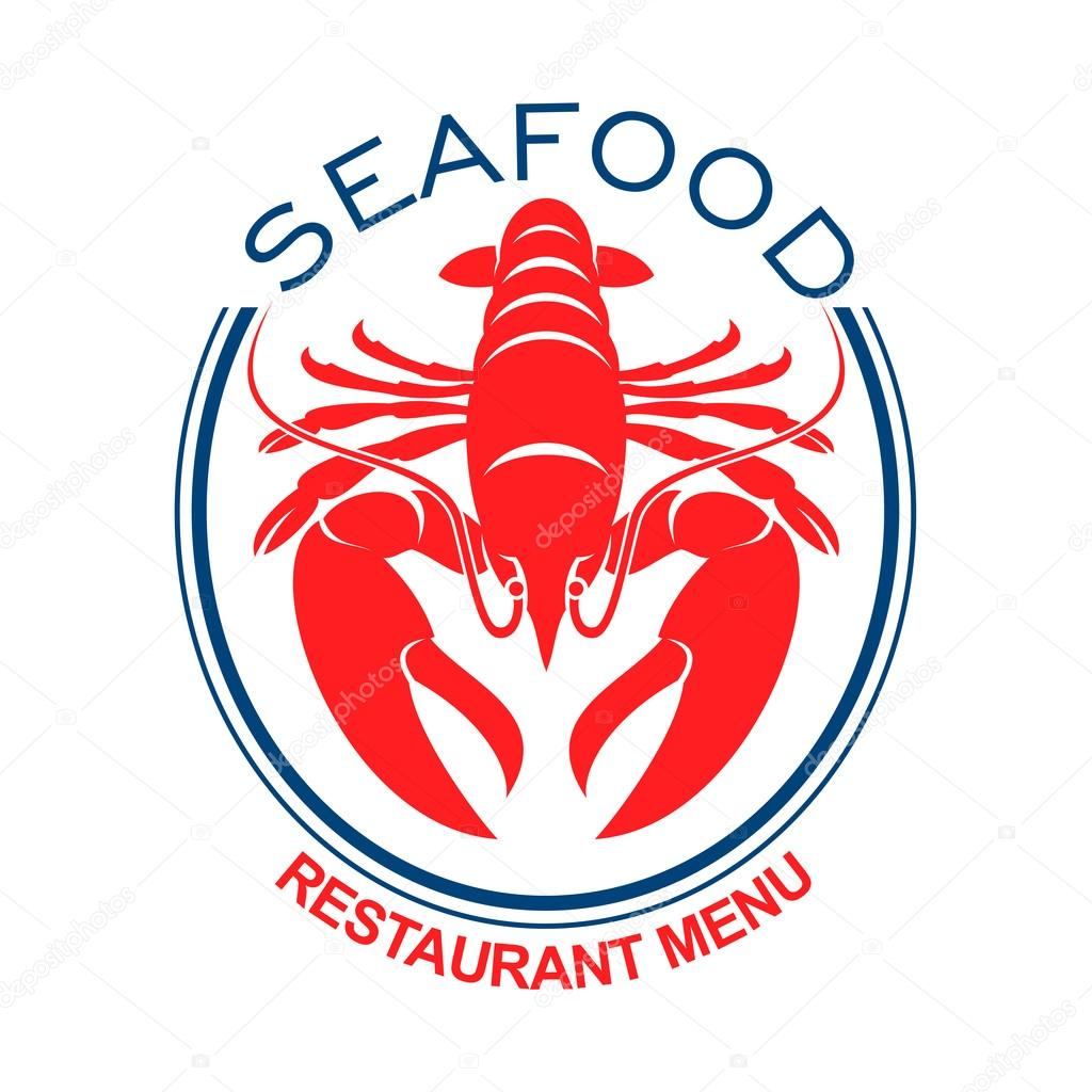 Giant Red Lobster Icon In Blue Oval Frame Stock Vector