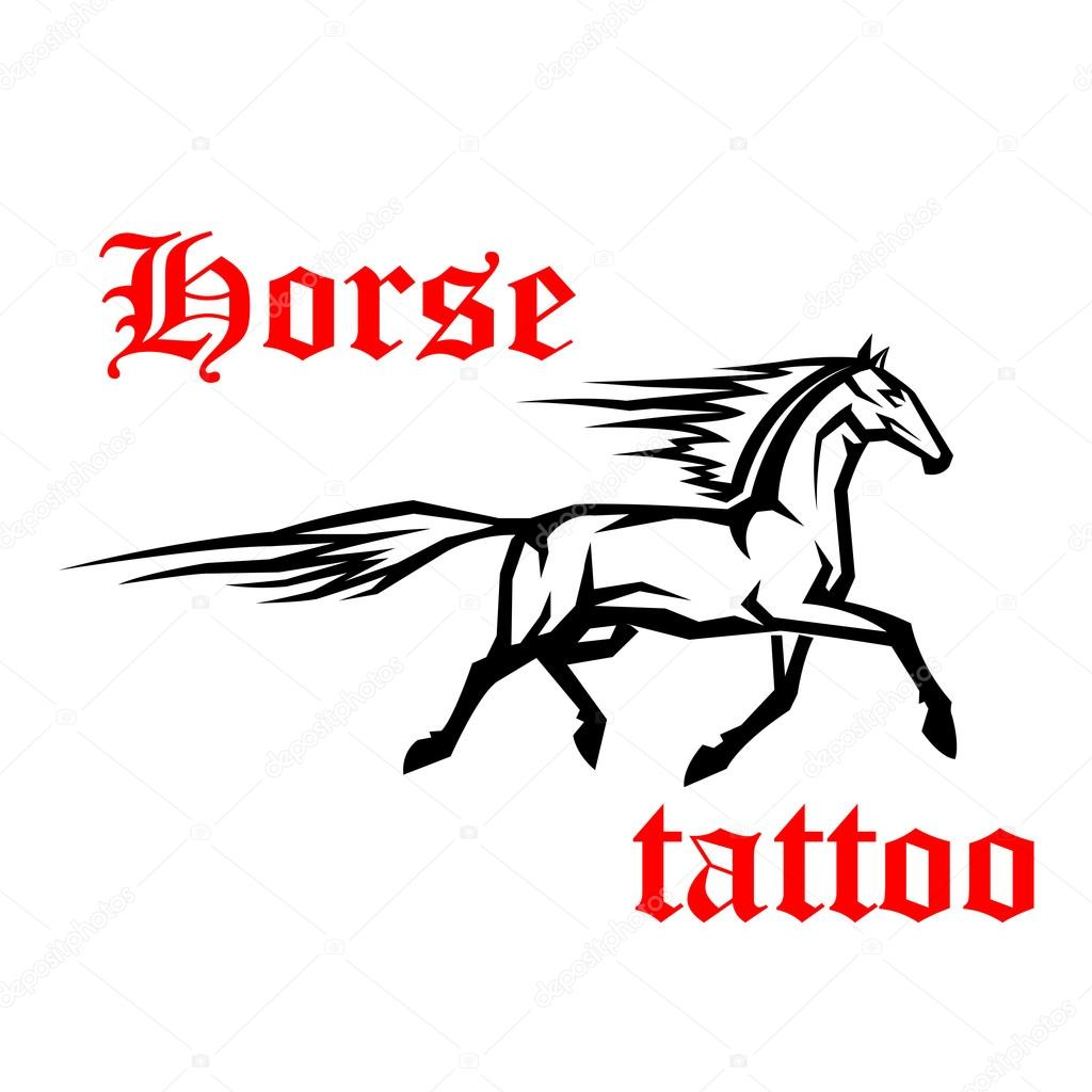Galloping Arabian Horse Sketch Drawing Stock Vector C Seamartini 113888044