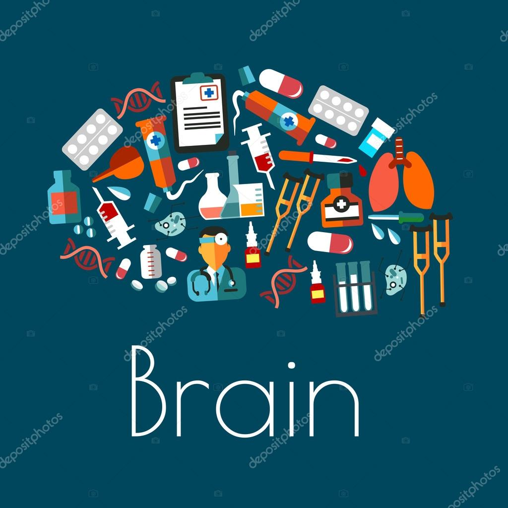 Human brain symbol with flat medical icons stock vector aggregate symbol of human brain with flat icons of doctor and lungs pills and syringes laboratory flasks and tubes medicines dna and cell models biocorpaavc Images