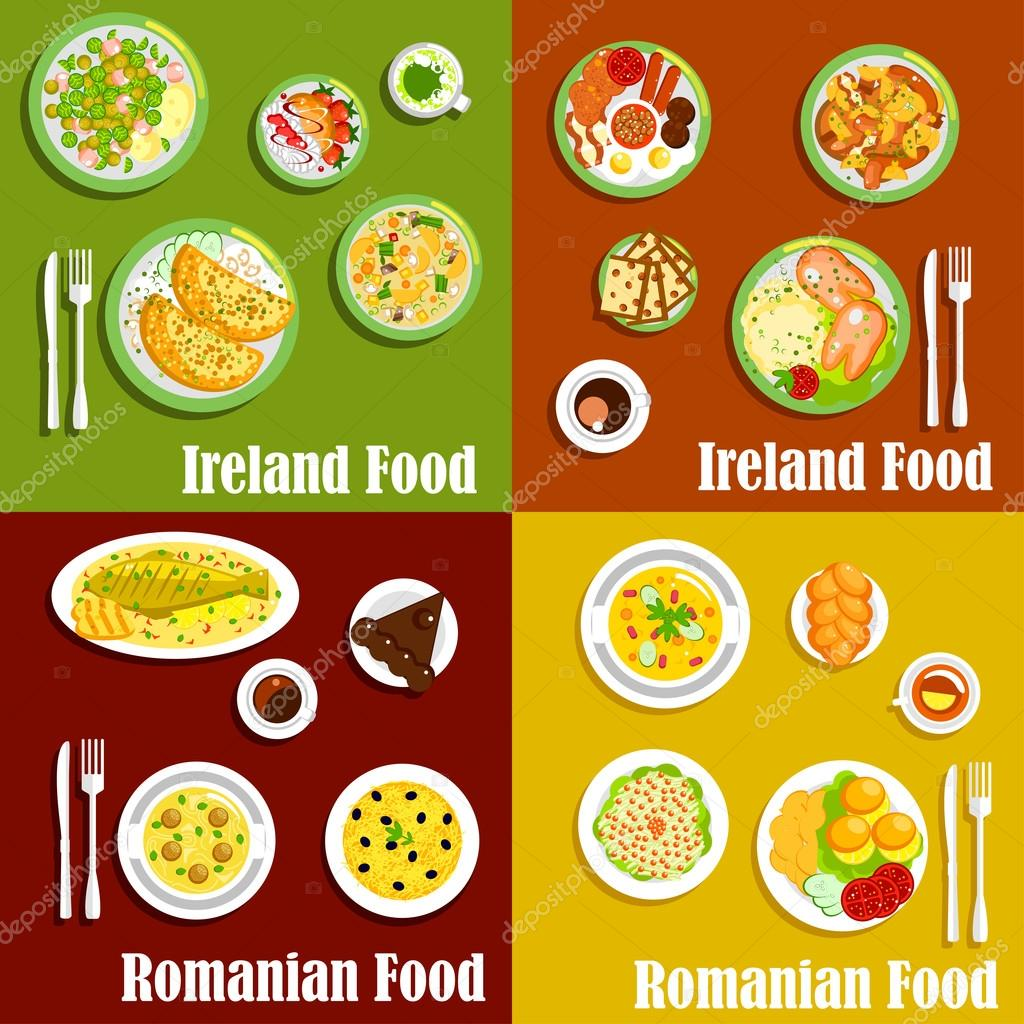 National dishes of irish and romanian cuisines vector de stock national dishes of irish and romanian cuisines vector de stock forumfinder Image collections