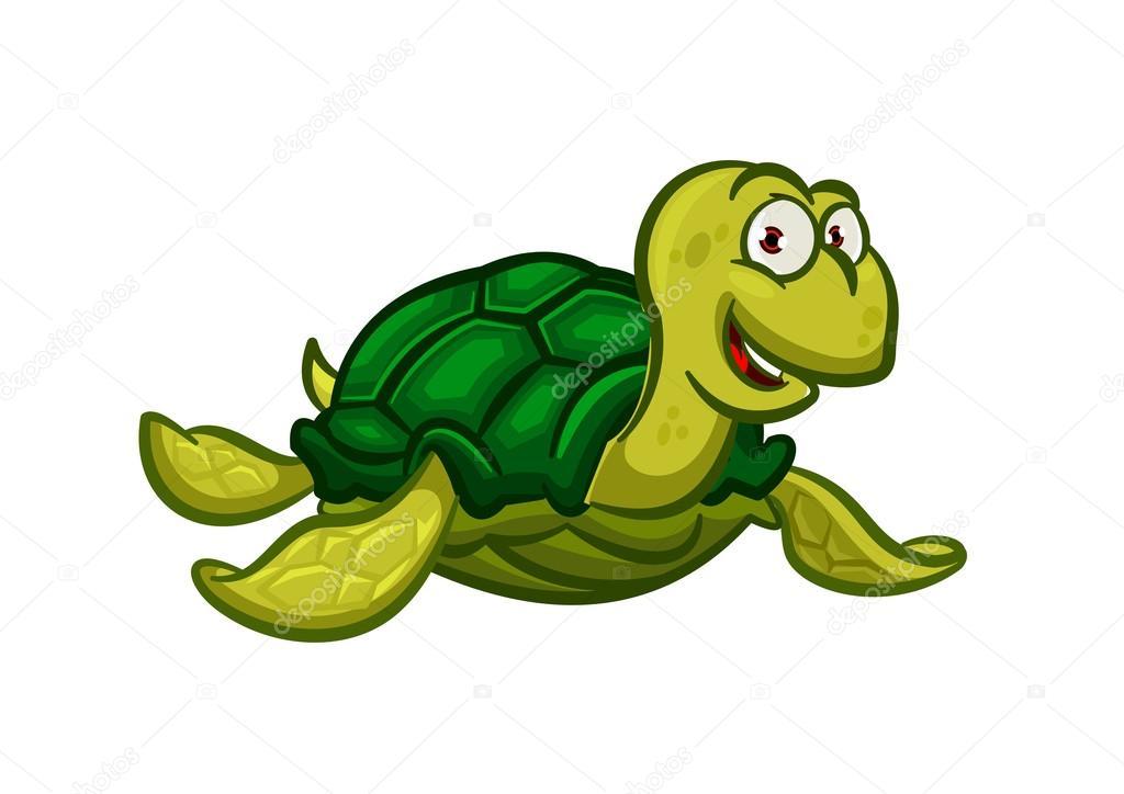 cartoon swimming sea turtle character ストックベクター