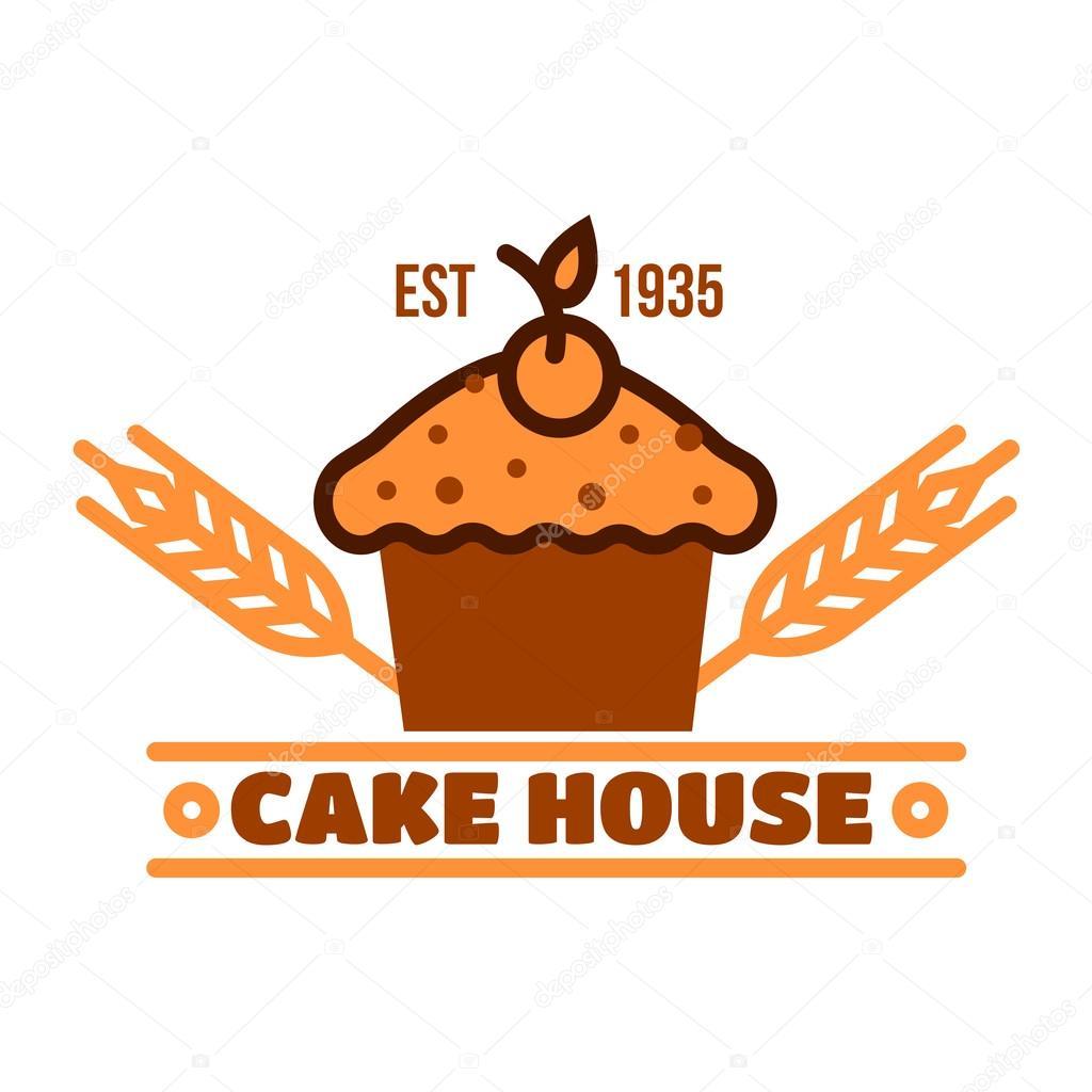 Chocolate Cake Retro Badge For Bakery Design Image Vectorielle