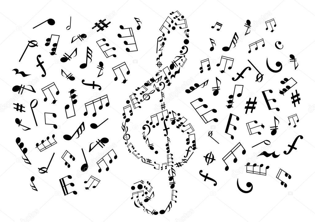Treble Clef With Notes Among Musical Symbols Stock Vector