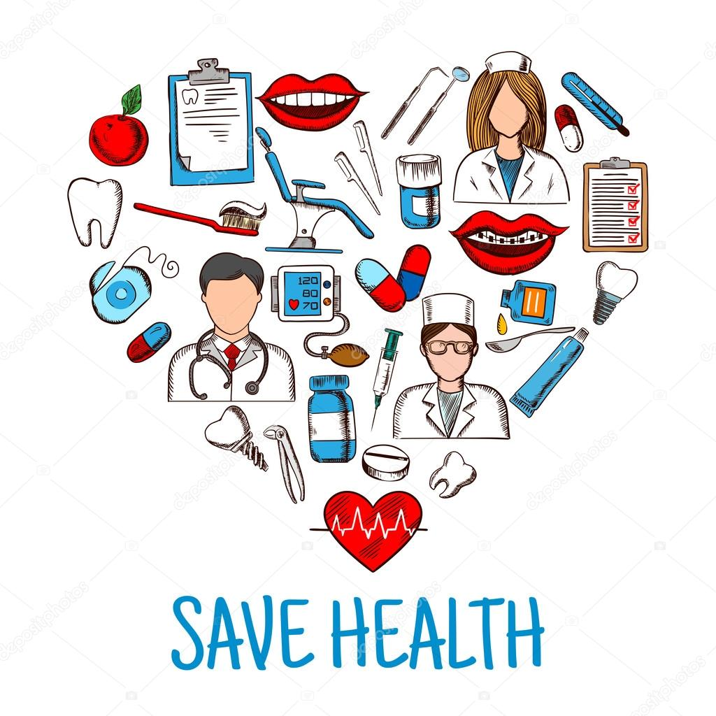 Save Health Symbol With Heart Of Medical Sketches