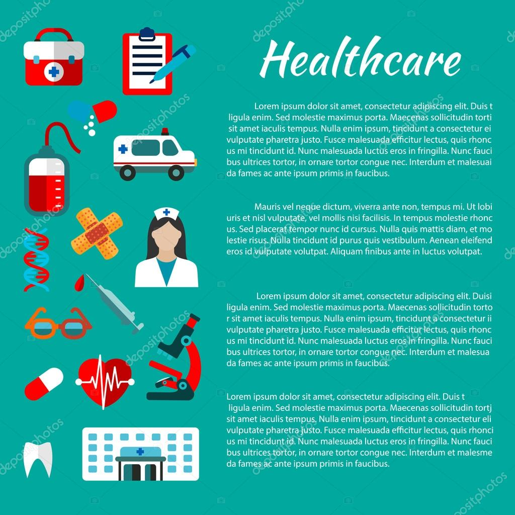 Poster design kit - Healthcare And Hospital Poster Design Template With Flat Icons Of Doctor Ambulance Aid Kit Hospital Building Blood Bag Heart Tooth Microscope