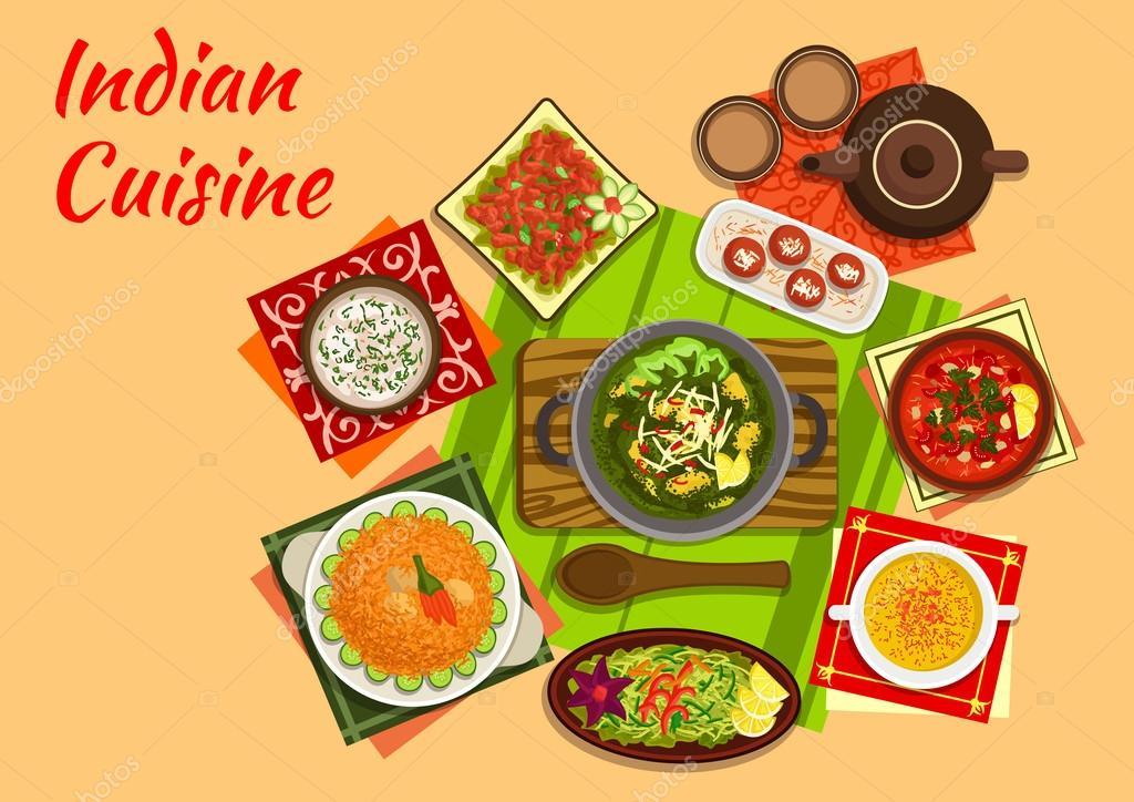 Cuisine Illustration indian cuisine menu — stock vector © seamartini #117927966