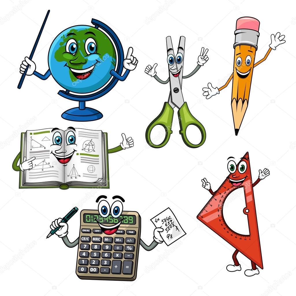 Fournitures scolaires dessin animé — Image vectorielle ...