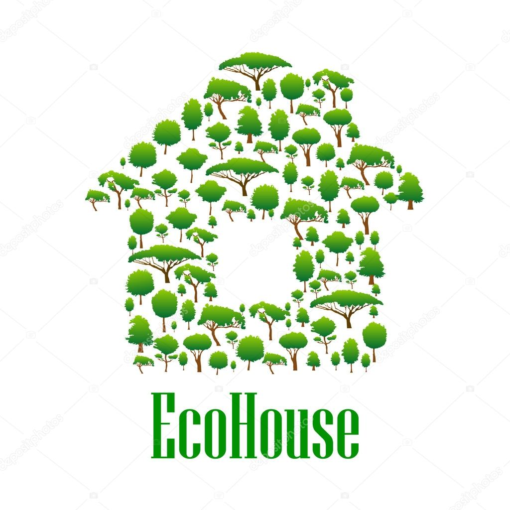 Eco House Symbol With Green Trees And Plants