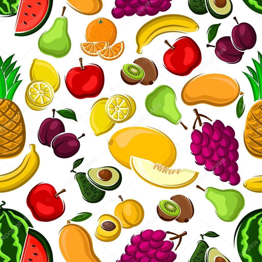 sweet and juicy fruits seamless pattern ストックベクター