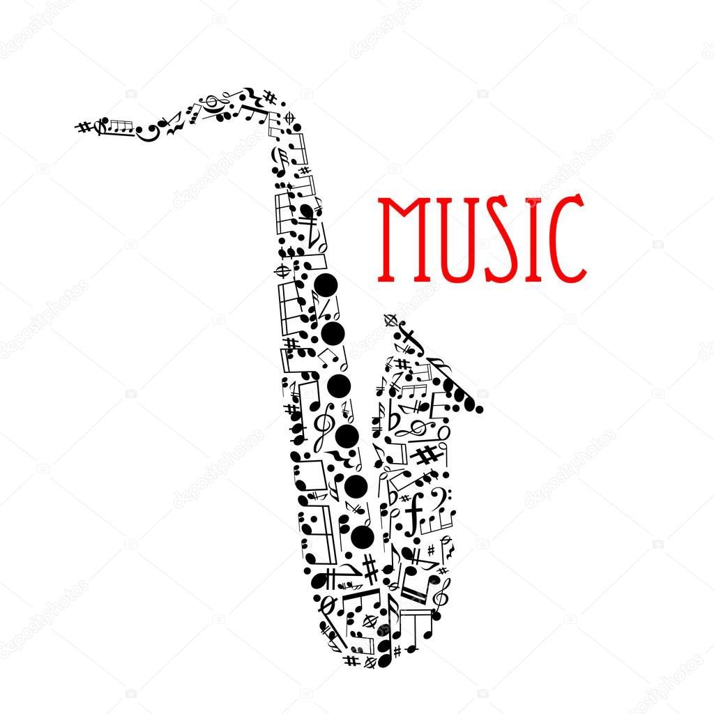 Saxophone With Musical Notes For Music Design Stock Vector