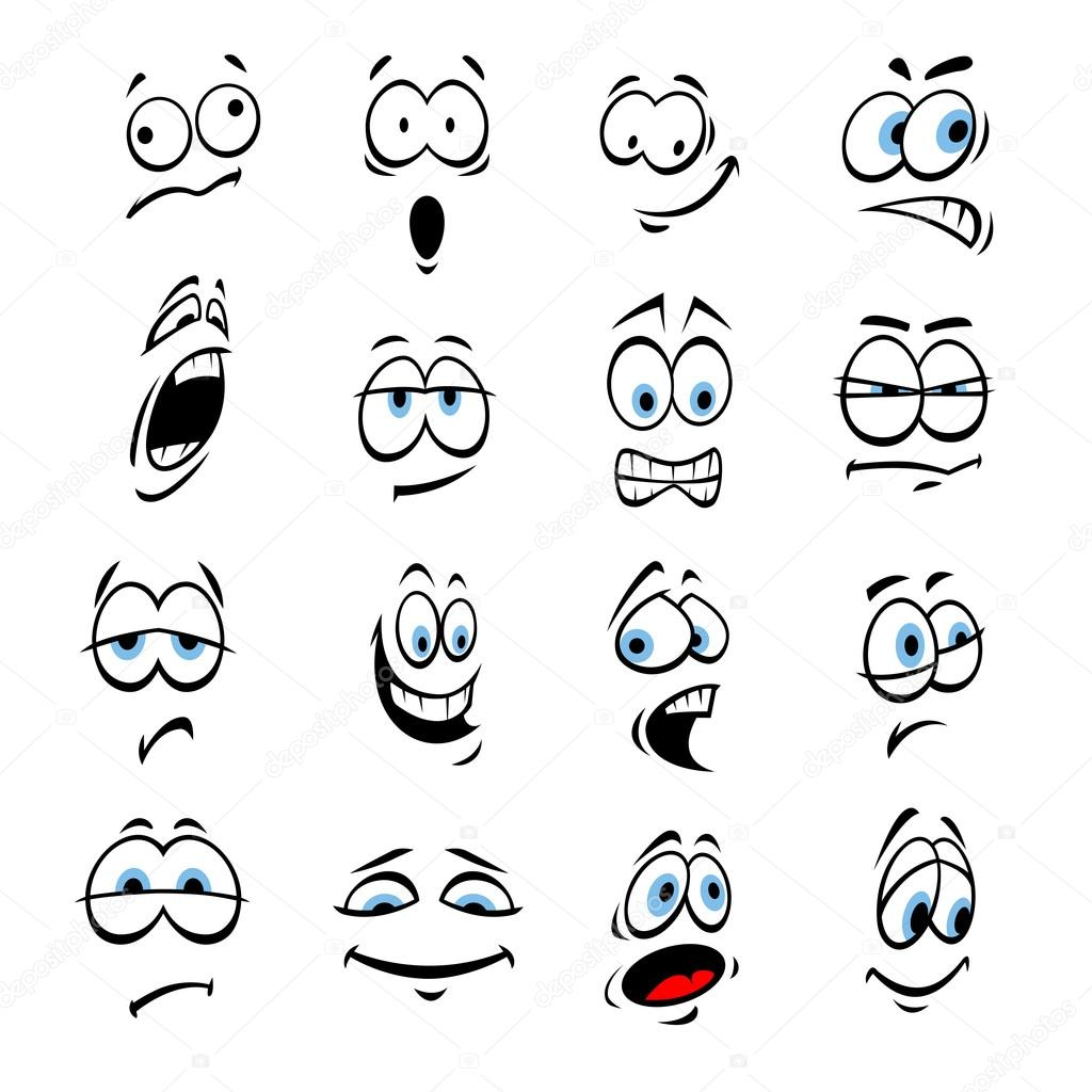 Cartoon eyes, face expressions and emotions — Stock Vector ...