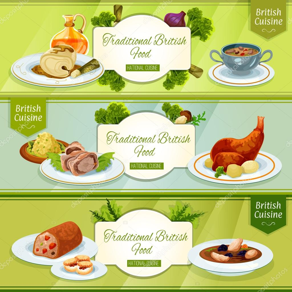 british cuisine banner for restaurant menu design — stock vector