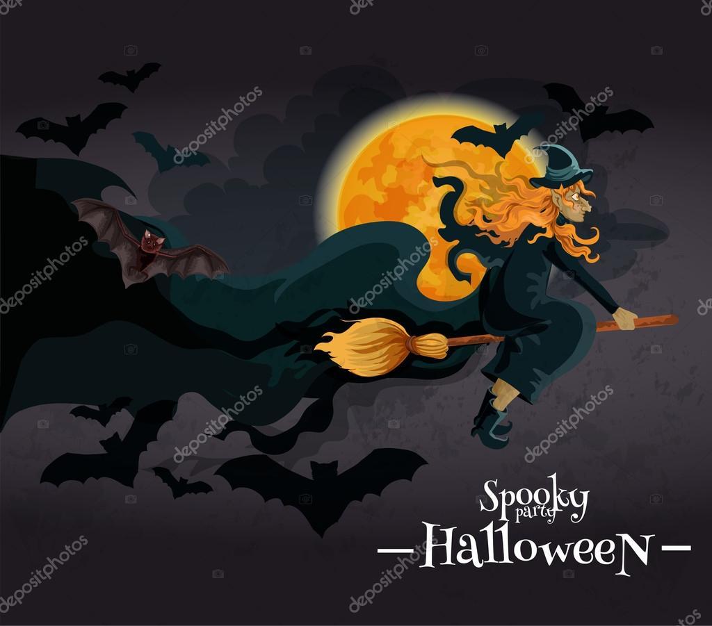 spooky halloween party invitation banner ストックベクター