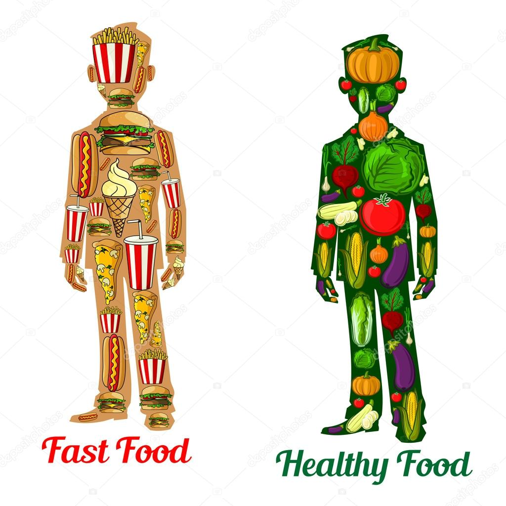 healthy diet nutrition and fast food human icons ストックベクター