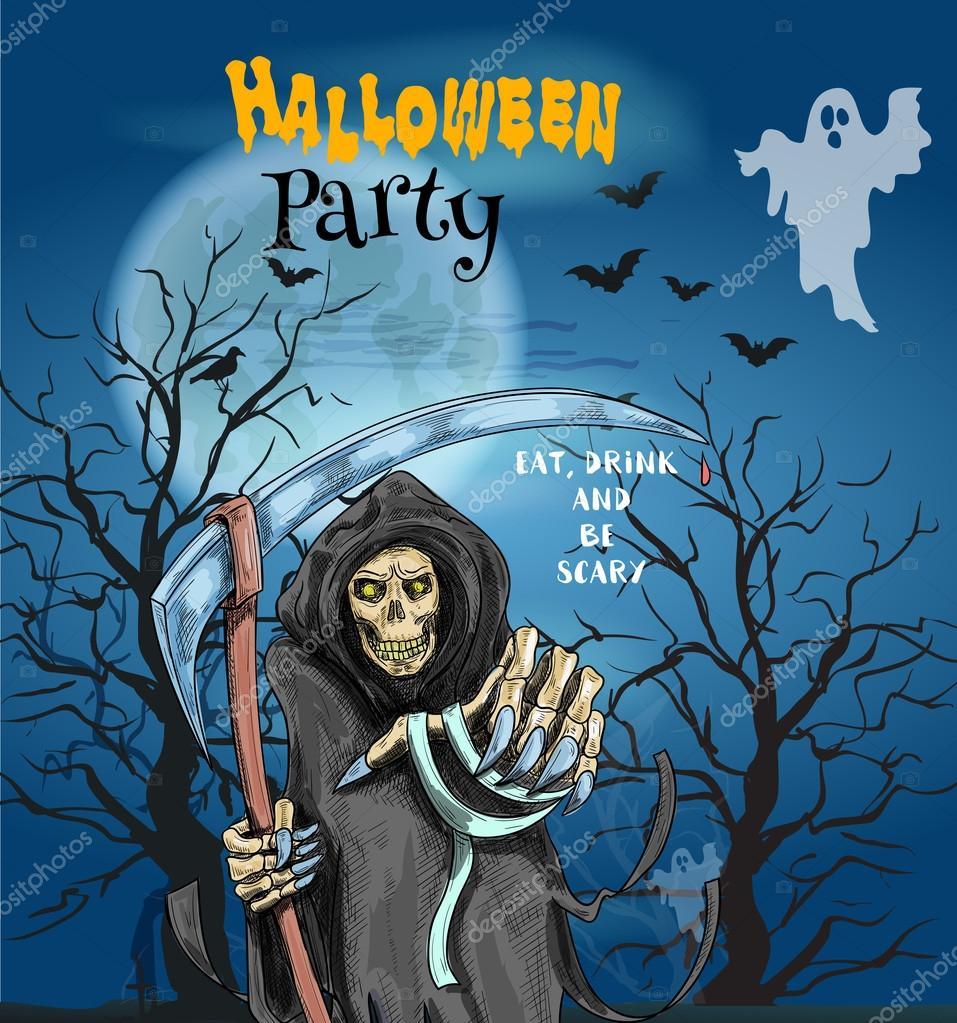 Halloween Party invitation card — Stock Vector © Seamartini #124777976
