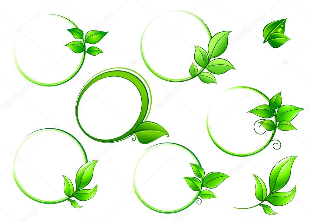Frames set with geen leaves — Stock Vector © Seamartini #51879265
