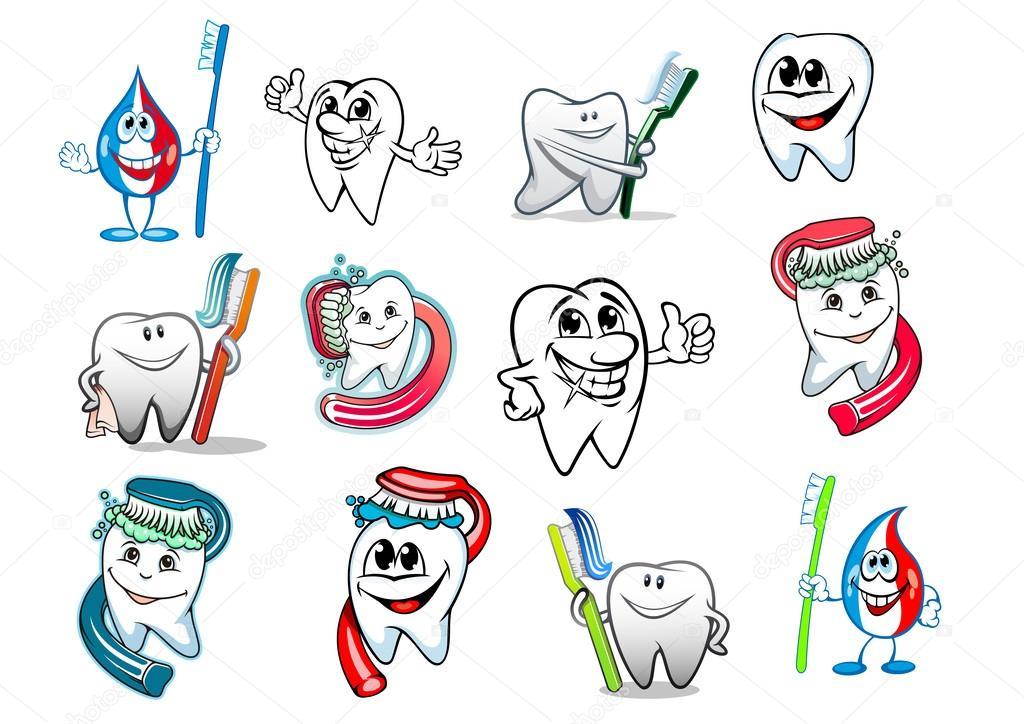 Dibujos Animados Diente Higiene Conjunto