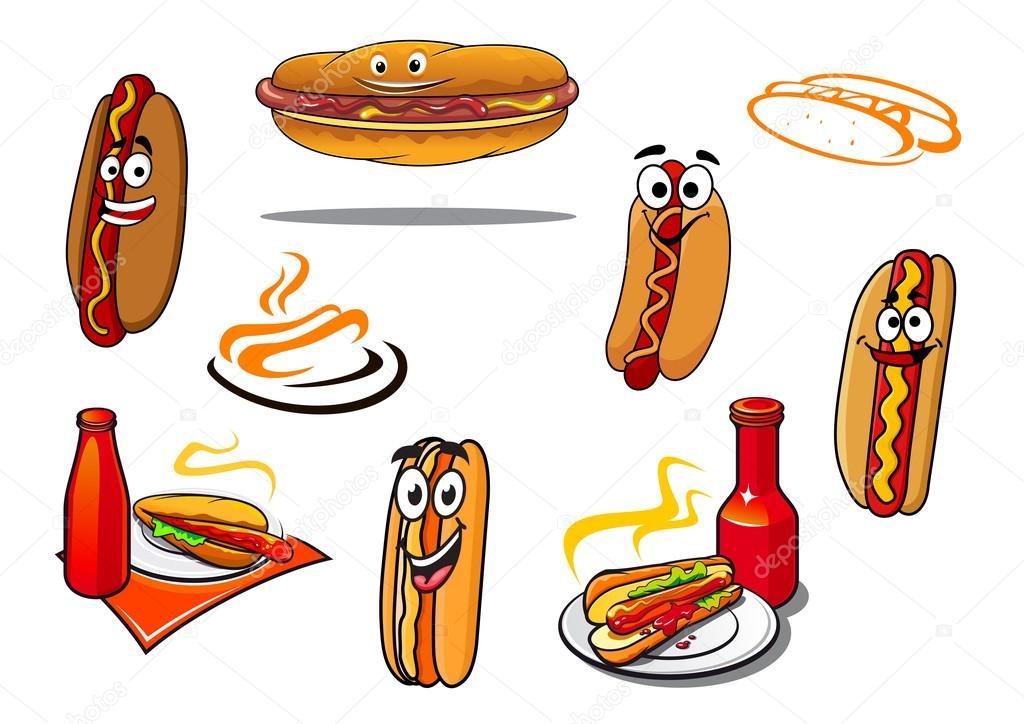 Hotdog Cartoon Characters And Symbols Stock Vector Seamartini