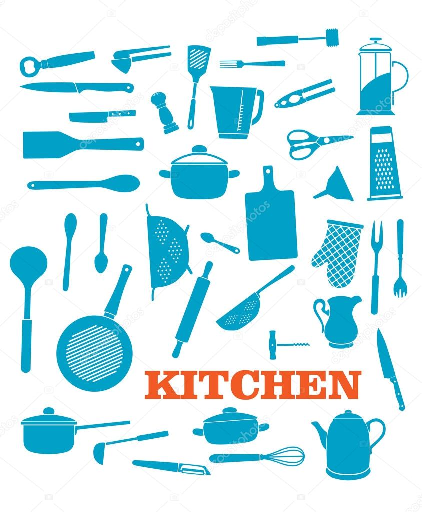 Set di oggetti da cucina vettoriali stock seamartini 52841405 - Oggetti da cucina ...