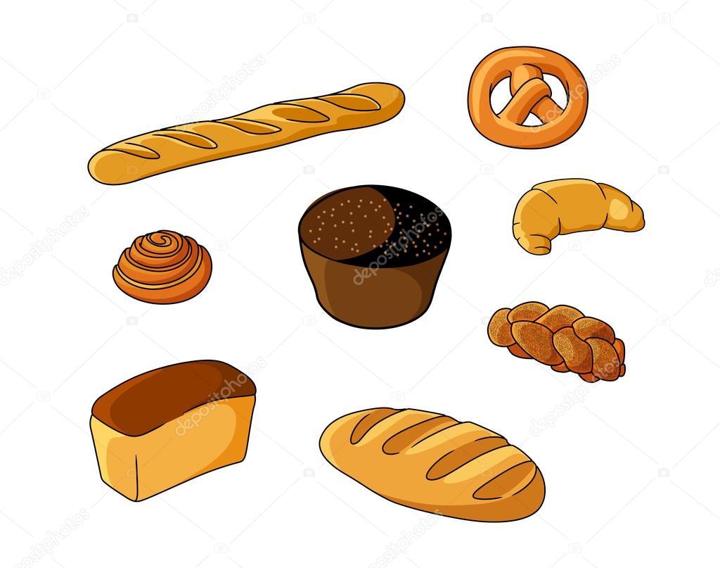 Ensemble Des Boulangeries De Pain De Dessin Animé Image