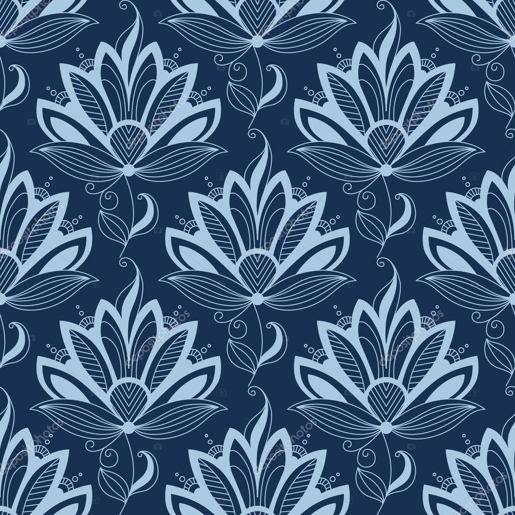 Blue Persian Paisley Seamless Floral Pattern Stock Vector C Seamartini 54734093