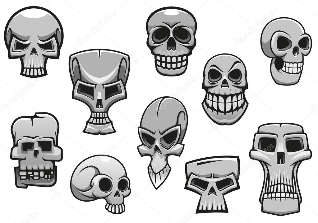 Scary Cartoon Skulls Cartoon Human Scary Halloween Skulls