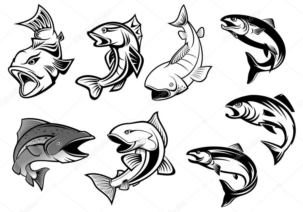 Cartone animato salmone pesce insieme — vettoriali stock