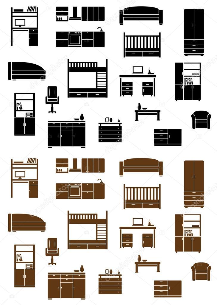 Conjunto de iconos de muebles planos vector de stock for Stock de muebles