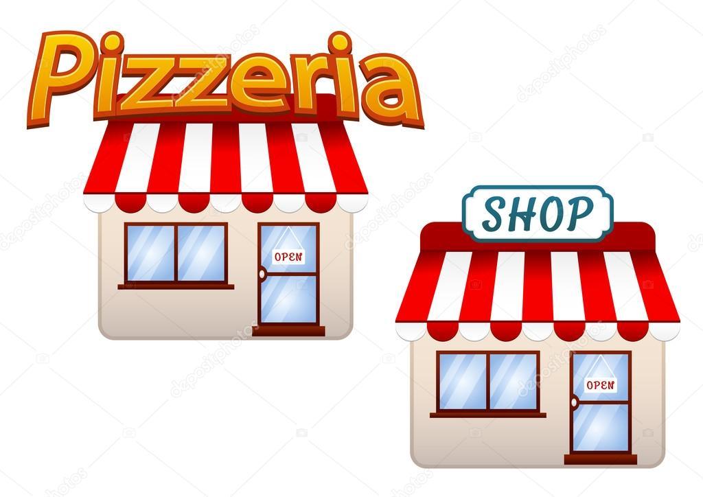 Dibujos Animados Iconos De Tienda Y Pizzería
