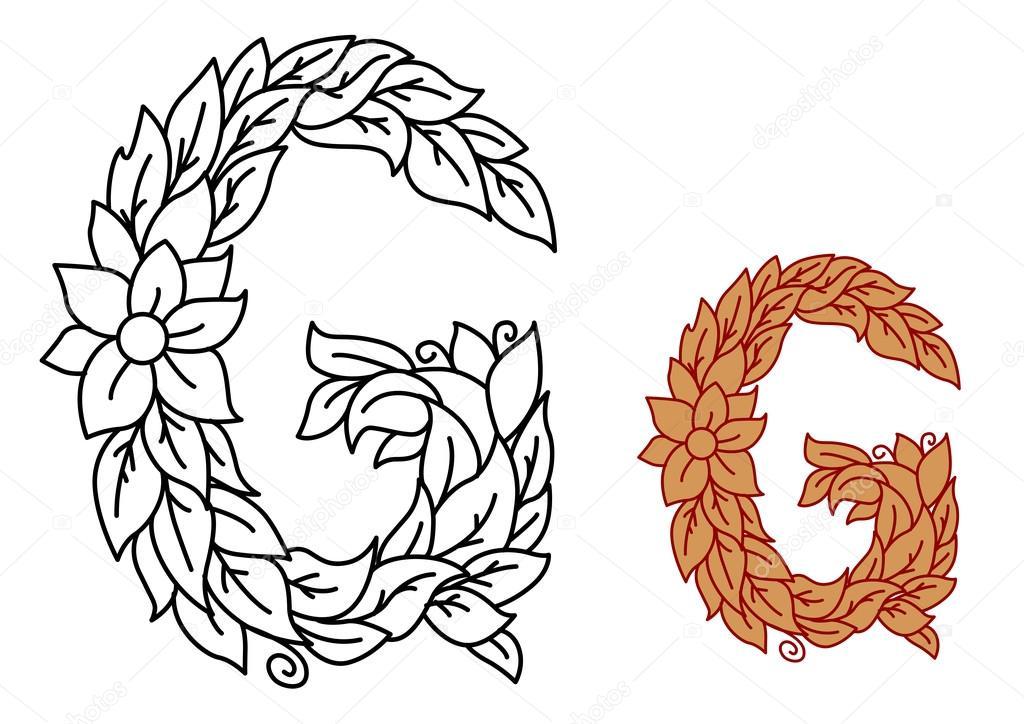 Letra G del alfabeto floral con hojas — Archivo Imágenes Vectoriales ...