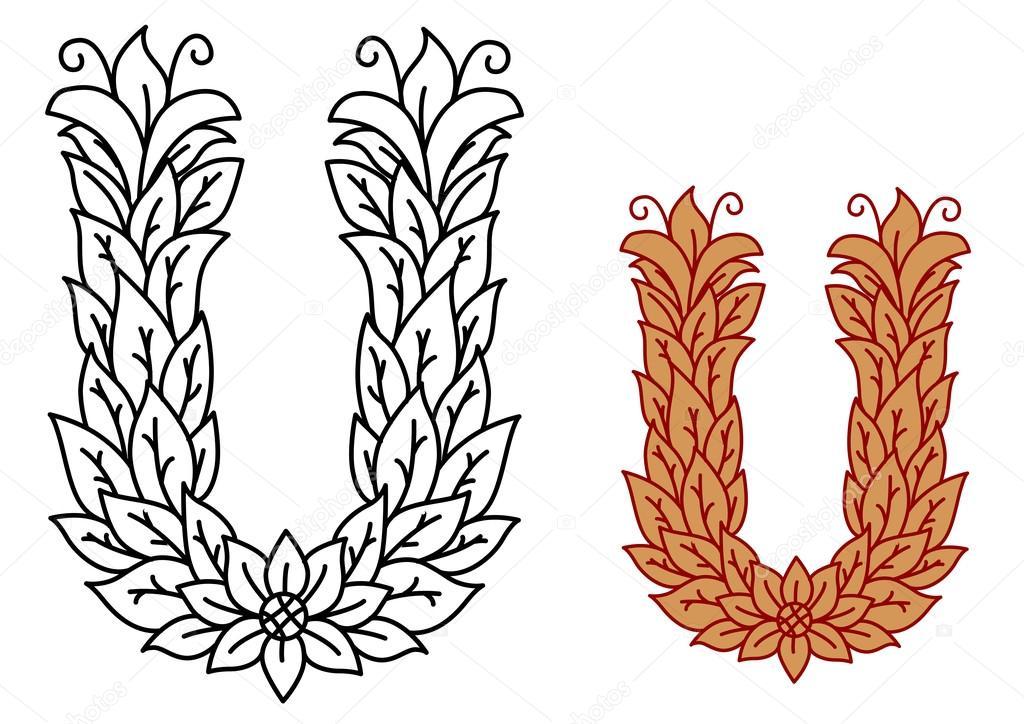 Letra del alfabeto U en una fuente de la naturaleza con hojas ...