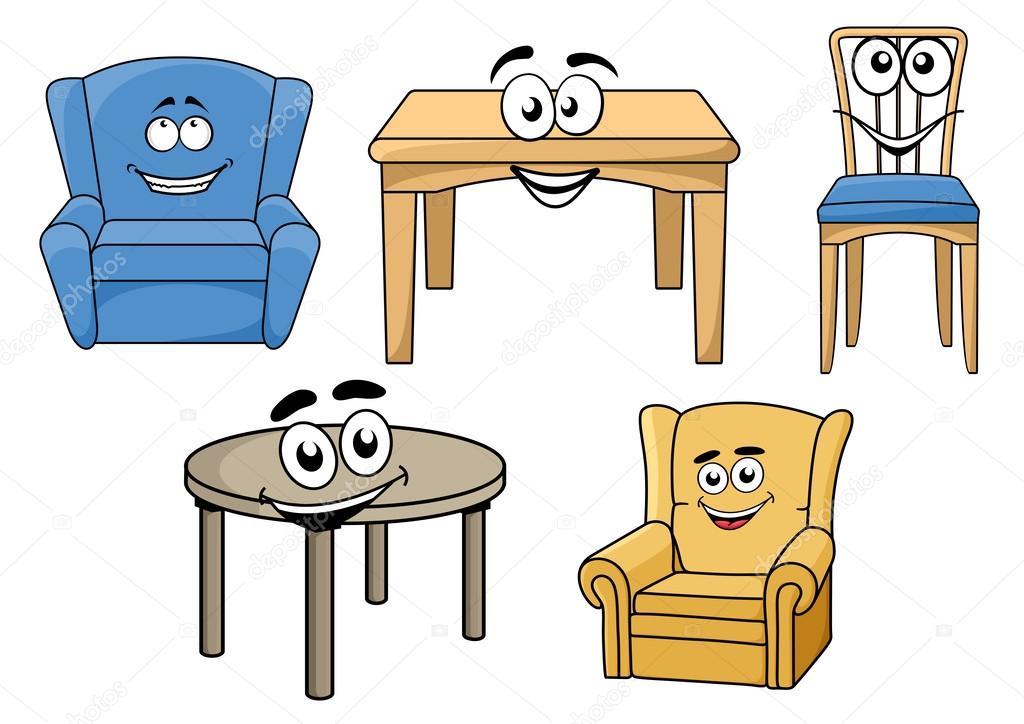 Cartooned Furniture Set With Smiles Stock Vector C Seamartini 59763271