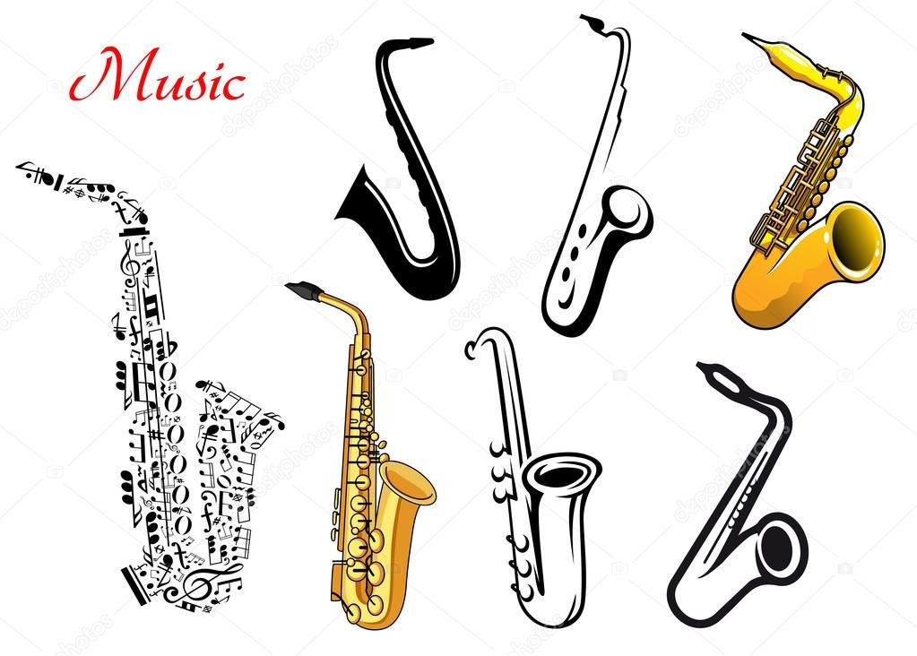 Dessin Saxophone instruments de musique de saxophone dessin animé — image vectorielle