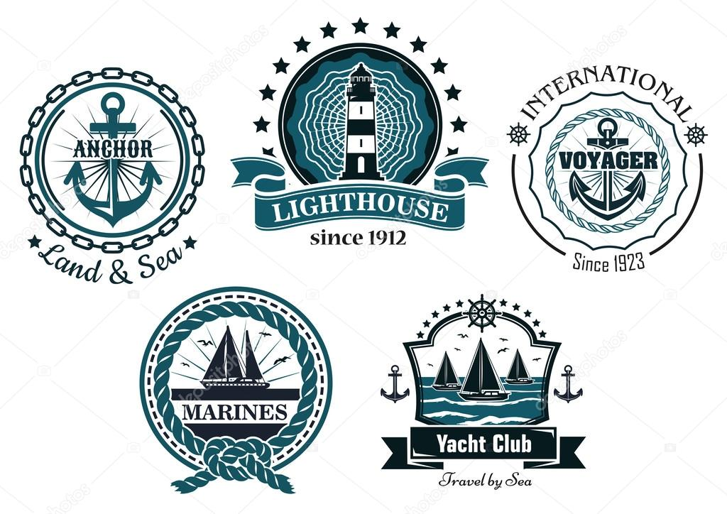 Vintage marine emblems or labels in blue and white — Stock