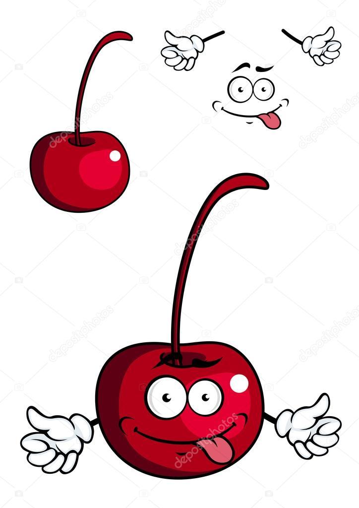 Mignon dessin animé cerise fruit donnant un pouce vers le ...