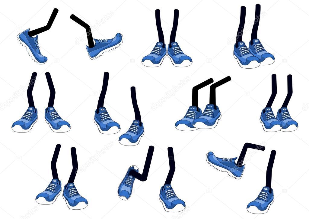 Vector de dibujos animados caminar pies en zapatillas de deporte ...