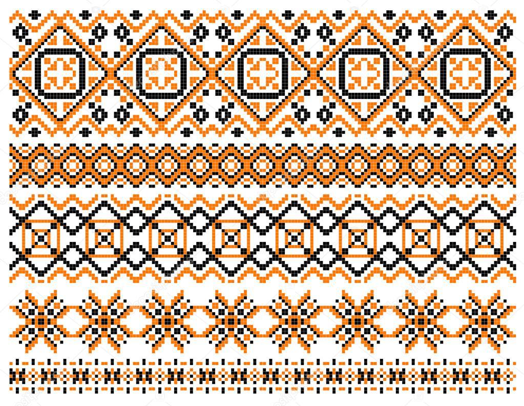 Marcos y bordes bordados geométricos — Vector de stock © Seamartini ...