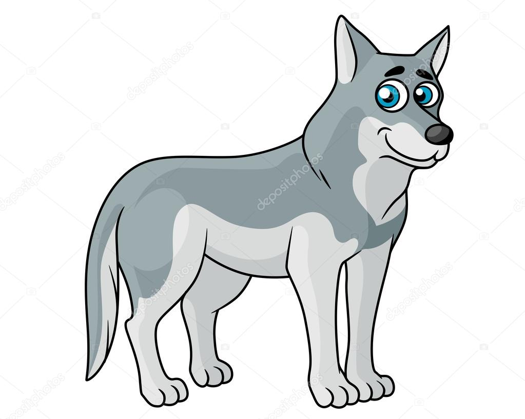 Loup gris dessin anim image vectorielle seamartini - Un loup dessin ...