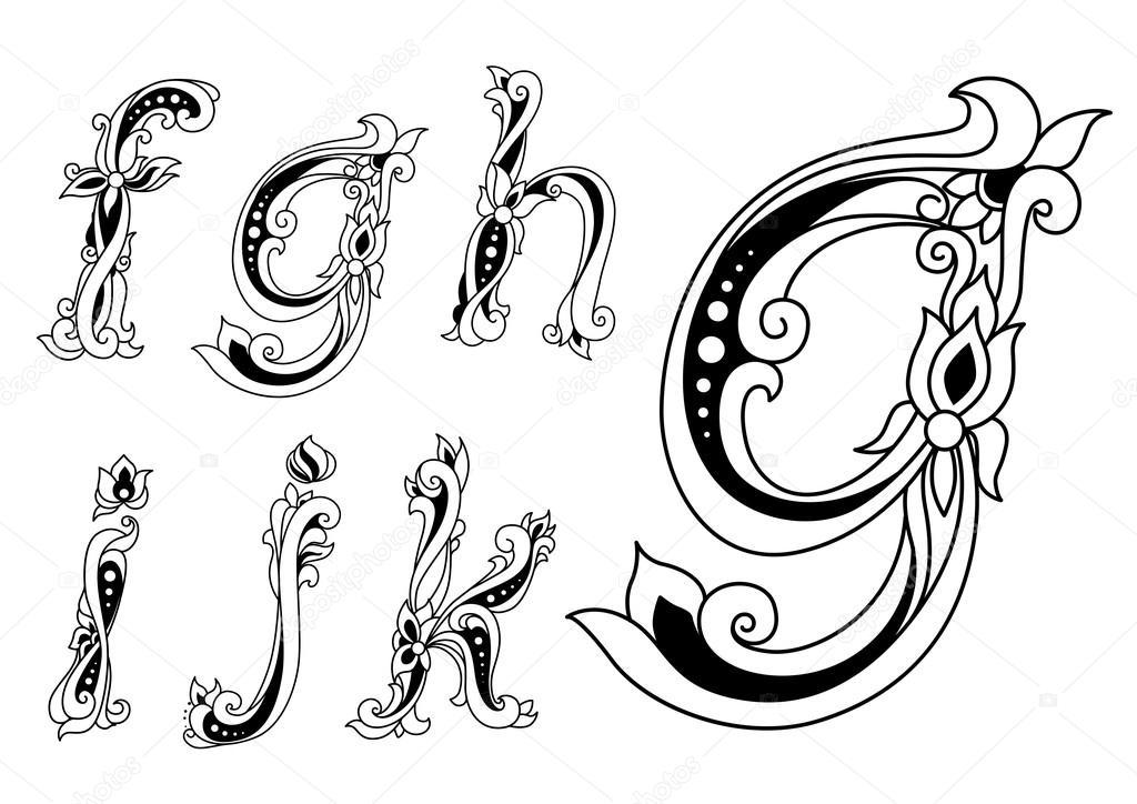 Floral Ornamental Outline Sketch Letters Font