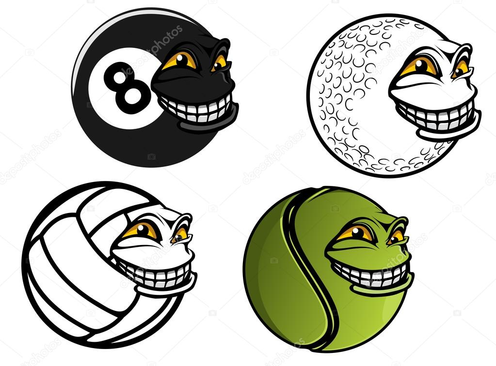 Tenis Golf Volejbal Kulecnik Kreslene Koule Stock Vektor