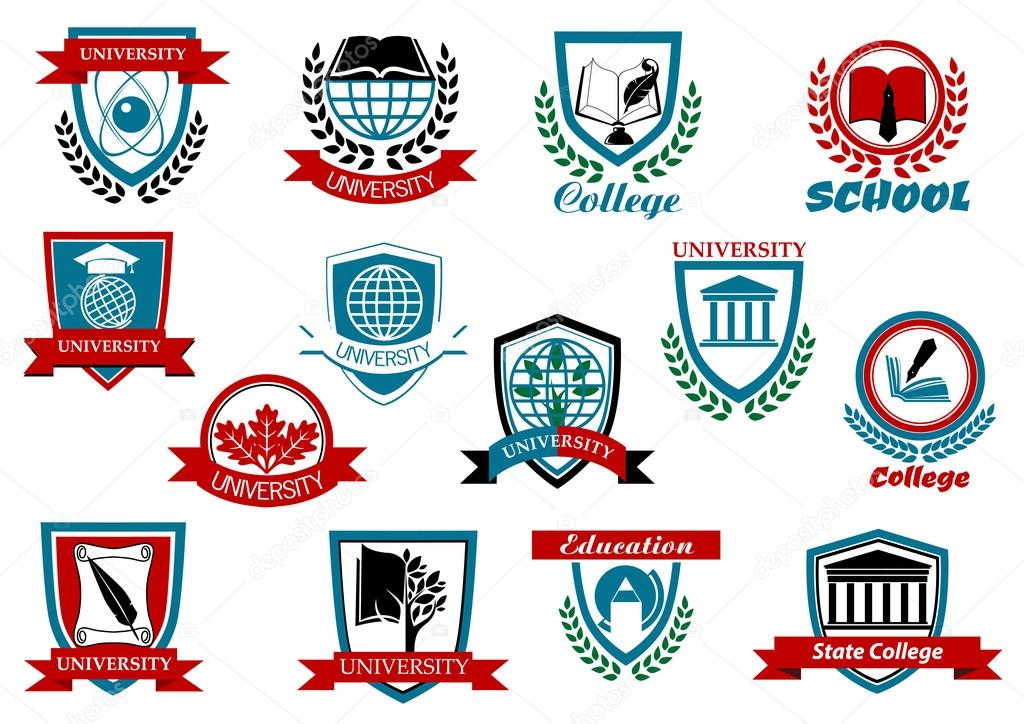 school university or college emblems and symbols � stock
