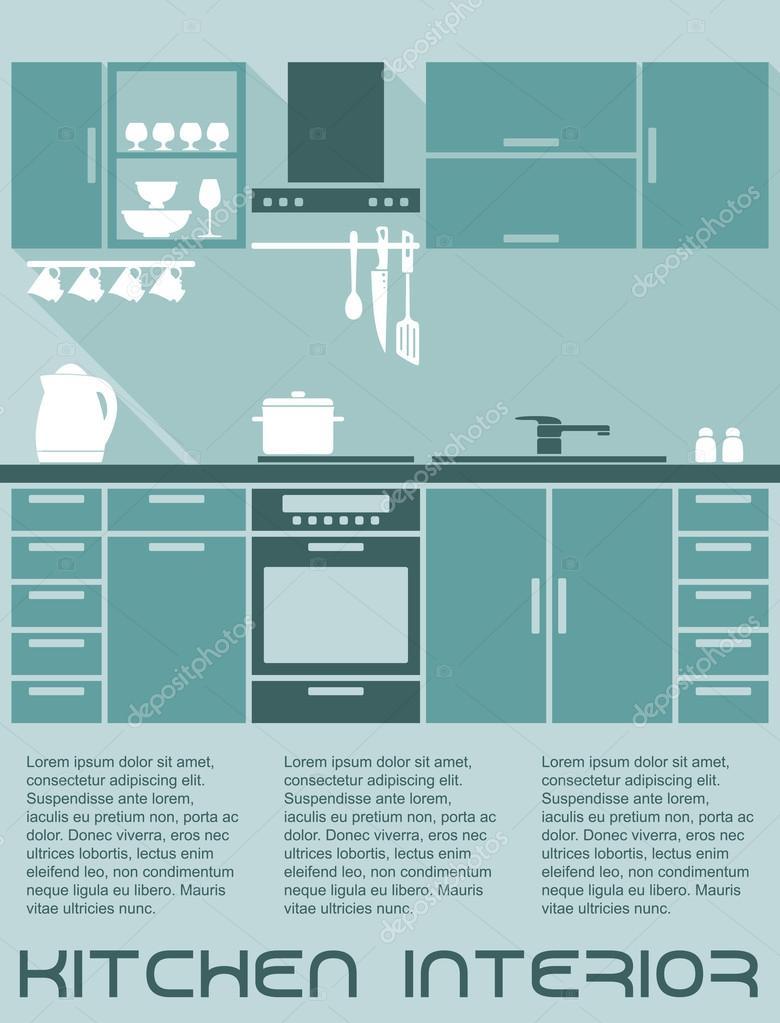 Plantilla de diseño de interior plano de cocina — Vector de stock ...