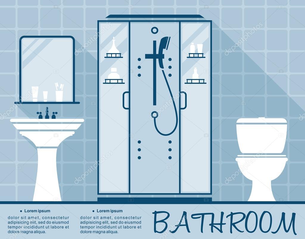 bathroom design infographic flat template stock vector