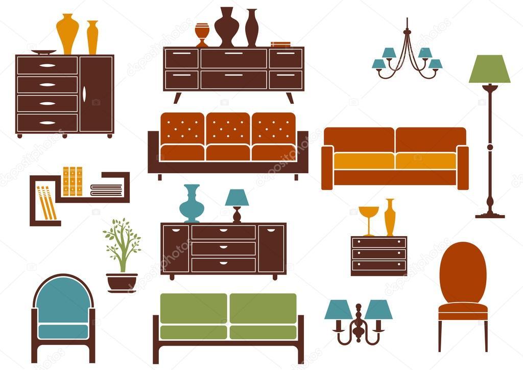 Muebles y elementos de diseño plano interior hogar — Archivo ...