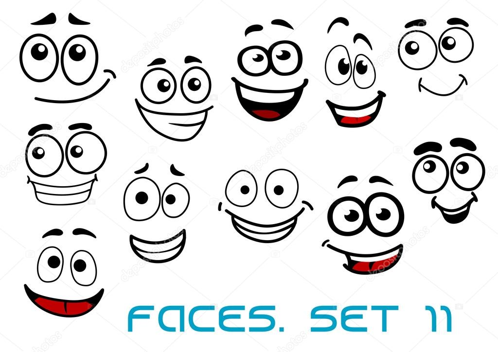 Dibujos Caras De Niños Felices Animadas: Personajes De Dibujos Animados Caras Felices Graciosos