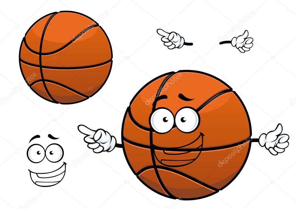 personagem de desenho animado feliz basquetebol bola mascote